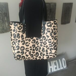 Leopard Tote, large vegan leather
